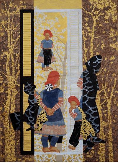 Tranh Cửa sổ và trò chuyện của họa sĩ Đinh Thị Thắm Poong, giá khởi điểm là 6.000 USD, sáng tác năm 2008. Nữ họa sĩ từng được Thời báo Time từng xếp Đinh Thị Thắm Poong vào nhóm những họa sĩ có tranh bán chạy nhất thị trường châu Á.