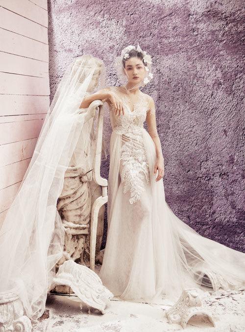 Thùy Trang Next Top đẹp mong manh với váy cô dâu