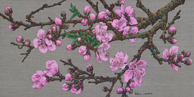 Muôn sắc hoa đào trong tranh của họa sĩ Còm