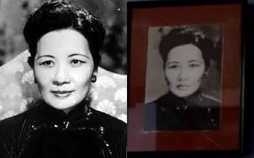 Ảnh bà Tống Mỹ Linh (trái) và di ảnh nhân vật Út Trong trong phim Dạ cổ hoài lang.