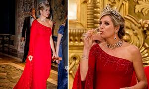 Hoàng hậu Hà Lan đẹp nhất tuần với đầm lệch vai