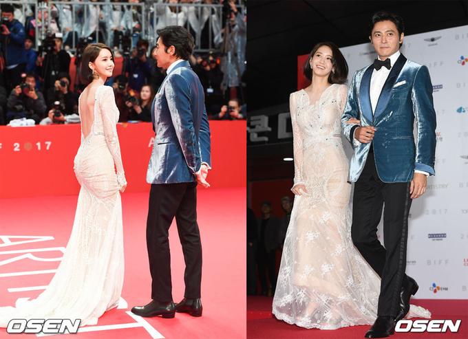 Sao Hàn: Yoona khoe lưng trần bên Jang Dong Gun trên thảm đỏ Busan
