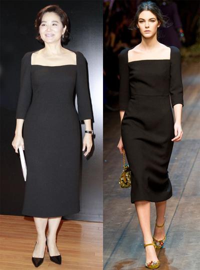 Nữ diễn viên thanh lịch với thiết kế cổ vuông của Dolce & Gabbana.