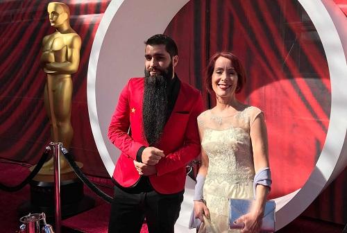 Jordan và mẹ ở Oscar. Hồi tháng 1, anh đưa mẹ đến Việt Nam để tham quan nhiều nơi.