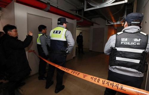 Cảnh sát phong tỏa nơi phát hiện thi thể Jo Min Ki. Ảnh: SBS.