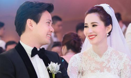 Thu Thảo và chồng trong đám cưới.