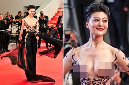 Triệu Hân để hở vòng một trên thảm đỏ Cannes.