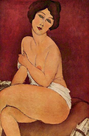 Bức Nude Sitting on a Divan - một tác phẩm khác trong loạt tranh khỏa thân củaAmedeo Modigliani.