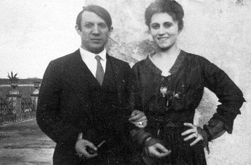 Picasso và vợ - Olga Khokhlova.