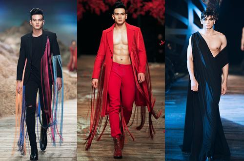 Lê Xuân Tiền biến hóa trong các show thời trang.