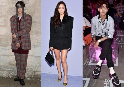 Các ca sĩ Hàn liên tục được mời đến xem show thời trang lớn. Từ trái qua: Kai, Jessica và Changmin.
