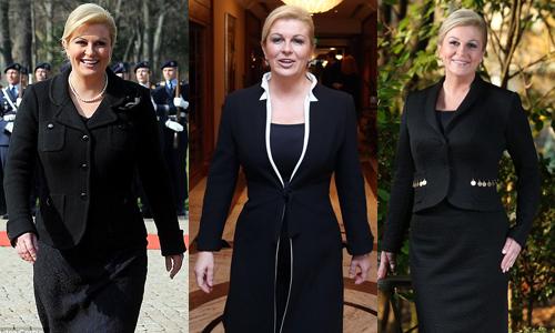 Kolinda cũng được đánh giá là chính trị gia có gu ăn mặc tinh tế. Ở các sự kiện quan trọng, bà thường diện vest, măng tô màu đen sang trọng. Các trang phục thường này nhấn nhá họa tiết hoặc may cách điệu ở cổ, túi, tay áo... để tạo điểm nhấn.
