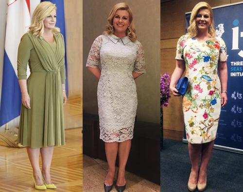 Kolinda cũng ưa chuộng nhiều trang phục nhẹ nhàng, nữ tính với các gam màu như trắng, hồng, xanh pastel. Tổng thốngđể tóc xoăn uốn lọn, hài hòa với vẻmềm mại của trang phục. Bà thường chọn giày đồng màuvới váy hoặc các gam màu cơ bản như đen, nude để tôn chiều cao.