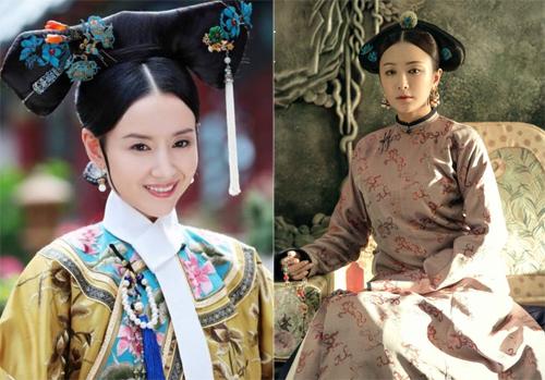 Tạo hình Phú Sát hoàng hậu của Đổng Khiết (trái) và Tần Lam.