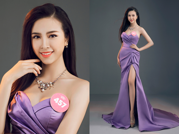 Thi sinh Hoa hau Viet Nam dien trang phuc cat xe xuyen thau