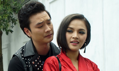 Diễn viên Trọng Lân (trái) và Thu Quỳnh đóngvai phản diện trong series.
