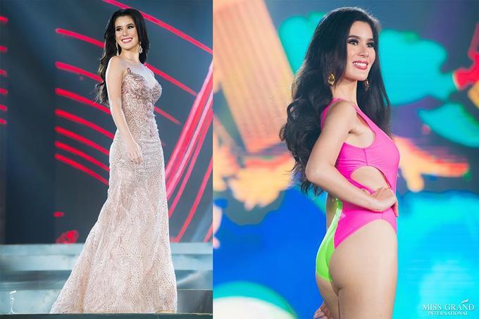 Phuong Nga mạc váy xẻ ton dang o bán két Miss Grand International