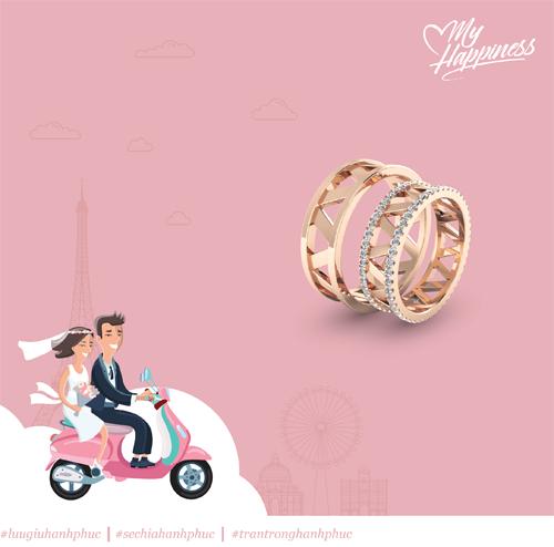 Mẫu nhẫn cưới lấy cảm hứng từ tháp Eiffel (Paris) mang thông điệp hạnh phúc ngọt ngào và gắn kết dài lâu.