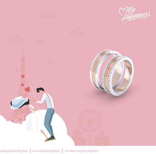 Nhẫn cưới vàng hồng pha vàng trắng tinh tế, tượng trưng mong muốn hòa hợp của cặp đôi trái dấu tính cách.