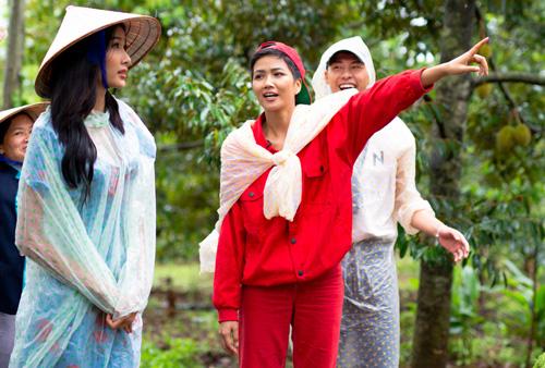 HHen Nie dua Hoàng Thùy vè que Dak Lak hái bo