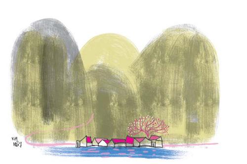 10. Minh họa của Kim Duẩn cho bài thơ Chợ tết xóm núi  Đoàn Lê