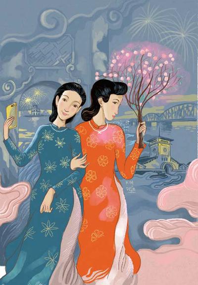 11. Minh họa của Kim Duẩn cho bản nhạc Chúc mừng năm mới  Nguyễn Vĩnh Tiến
