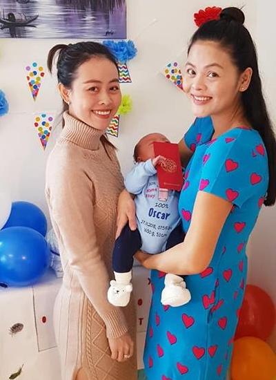 Dien vien Co gai xau xi sinh con trai voi chong Thuy Si