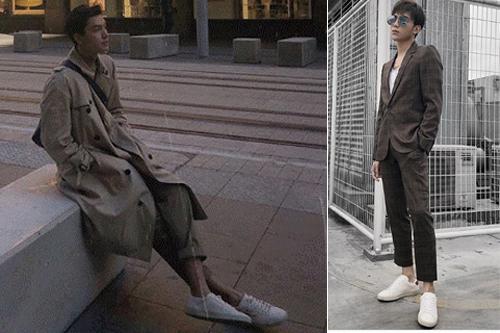 Người mẫu Quang Đại, ca sĩ Soobin Hoàng Sơn đều chọn court Sneaker trắng mặc cùng suit và trench coat màu trung tính.
