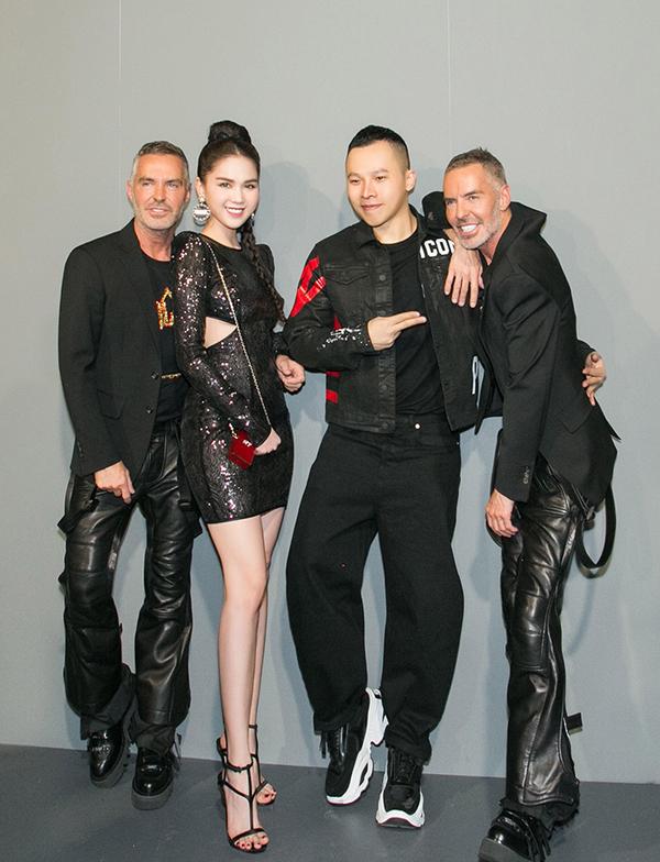 Ngọc Trinh diện váy xẻ lườn dự Milan Fashion Week