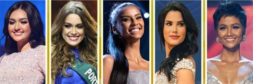 Top 5 từ trái sang: Hoa hậu Quốc tế Philippines, Hoa hậu Trái đất Bồ Đào Nha, Hoa hậu Hoàn vũ Nam Phi, Hoa hậu Quốc tế Venezuela và Hoa hậu Hoàn vũ Việt Nam.