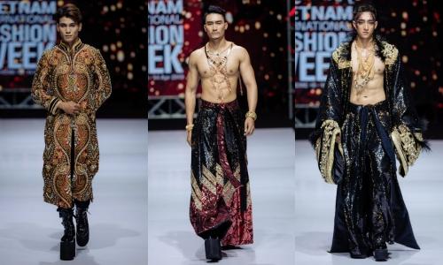 Ngoài trang phục nữ, bộ sưu tập còn mang đến các thiết kế dành cho nam, sử dụng chất liệu seuqin, đá