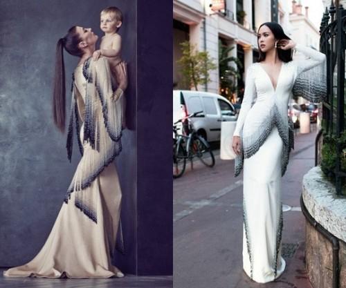 Bộ váy của Alexis Mabille (trái) và Vũ Ngọc Anh có nhiều điểm tương đồng.