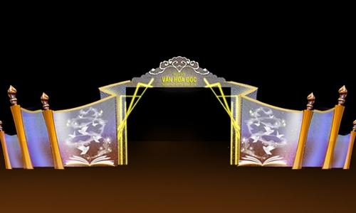 Phối cảnh cổng chào của ngày hội văn hóa đọc.