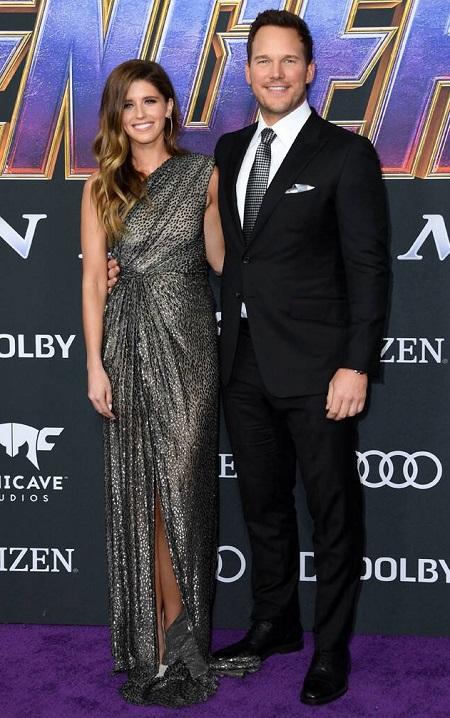 Bộ đôi lần đầu sánh đôi trên thảm đỏ ở buổi ra mắt Avengers: Endgame ở Los Angeles (Mỹ) vào tháng 4. Chris mặc vest với phụ kiện xám, còn Katherine mặc váy dài ánh kim của nhà thiết kế Monique Lhuillier. Avengers: Endgame cũng là phim có doanh thu cao nhất trong sự nghiệp Chris Pratt (hơn 2,7 tỷ USD). Ảnh: AFP.