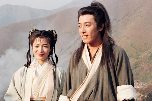 Trần Thiếu Hà và Lữ Tụng Hiền (vai Lệnh Hồ Xung) trong Tiếu ngạo giang hồ. Ảnh: TVB.