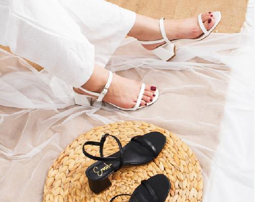 Glày nữ, giày cao gót block heel Erosska đế vuông quai mảnh tinh tế cao 7cm - EM019 (Màu nude)