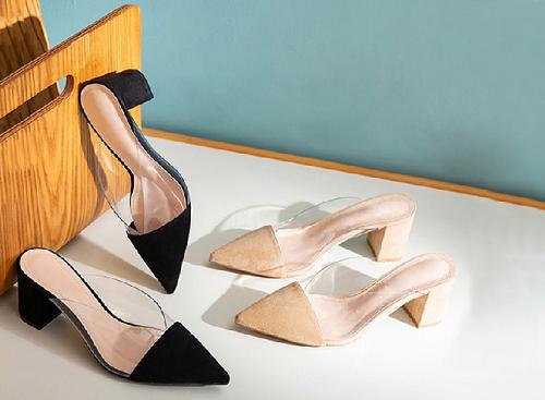 Giày nữ, giày mules phối mica trong suốt Erosska đế vuông cao 5cm - EM021 (màu nude)