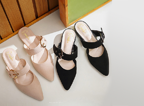 Giày nữ, giày mules cao gót Erosska da lộn phối belt thời trang cao 2cm - EM023 (màu đen)
