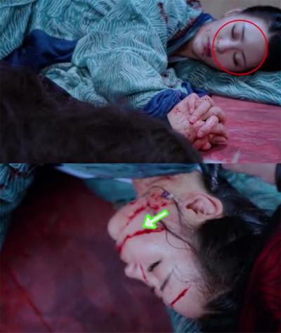 Vết máu trên mặt nhân vật nữ thay đổi trong tích tắc.