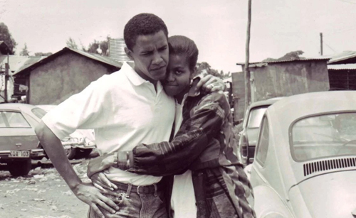 Barack Obama and fiancée, Michelle, in Kenya, 1992.