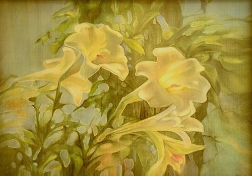 Tranh lụa vẽ hoa ly - Họa sĩ Hoàng Định