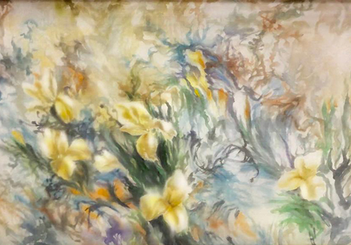 Tranh vẽ Hoa Ly - Họa sĩ Hoàng Định