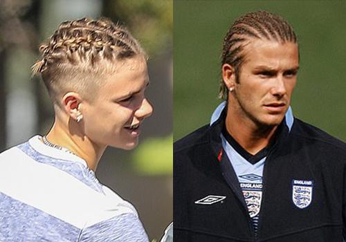 Romeo Beckham (trái) để kiểu tóc giống bố thời trẻ. Ảnh: Backgrid.
