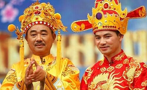 Quốc Khánh (vai Ngọc Hoàng) và Xuân Bắc (vai Nam Tào). Ảnh: VFC.