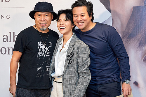 Từ trái qua: nhạc sĩ Huy Tuấn, Vũ Cát Tường, ca sĩ Thanh Bùi trong buổi ra mắt album của cô hôm 30/11 tại TP HCM. Ảnh: Mi.N.