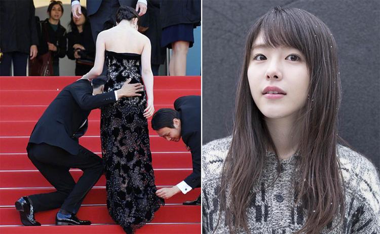 Diễn viên Erika Karata. Sau cô khi lộ mối quan hệ với đàn anh, nhiều khán giả chia sẻ lại bức ảnh Higashide Masahiro đặt tay lên vòng ba của Erika Karata tại Liên hoan phim Cannes năm 2018. Ảnh: Sponichi.