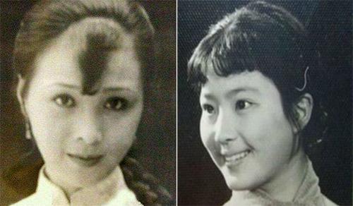 Bà ngoại (trái) và mẹ Diệc Phi thời trẻ. Trên Sina, diễn viên từng nói cô xấu nhất nhà.